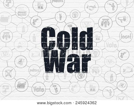 Political Concept: Painted Black Text Cold War On White Brick Wall Background With Scheme Of Hand Dr