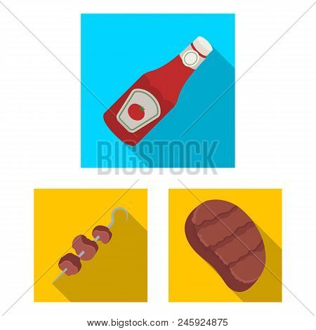 Barbecue And Equipment Flat Icons In Set Collection For Design. Picnic And Fried Food Vector Symbol