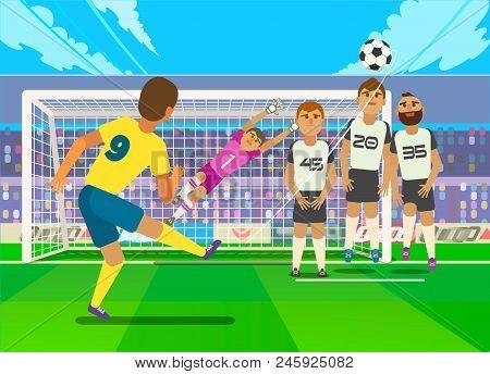 Football Player Kicking Penalty. Illustration Of Football Player Kicking Penalty To Gate Of Opposite