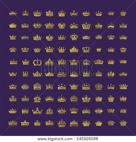 Vector Collection Of Creative King And Queen Crowns Symbols Or Logo Elements. Set Of Geometric Vinta