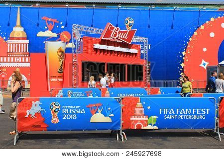 St. Petersburg, Russia - June 18, 2018: Fifa Fan Fest For World Cup Russia 2018. Football (soccer) W