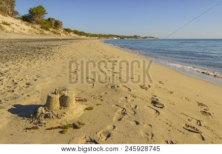 Summertime. The Most Beautiful Sand Beaches Of Apulia: Alimini Bay,salento Coast. Italy (lecce). It