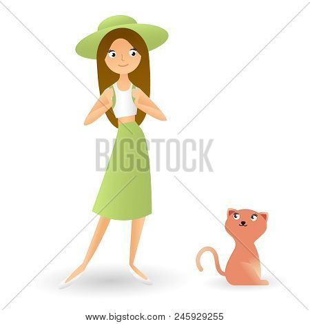 A Girl With An Animal, Homemade Cat With A Girl, Traveler. Cute Woman Is Standing On A White Backgou