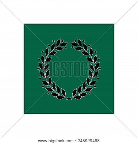 Laurel Award In Green Square. Modern Symbol Of Victory And Award Achievement Champion. Leaf Ceremony