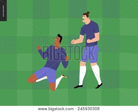 European Football, Soccer Players -flat Vector Illustration - Soccer Players Winning Victory - Two Y