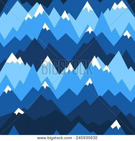 Blue Mountains Seamless Pattern. Vector Background For Hiking And Outdoor Concept. Mountains Ridges