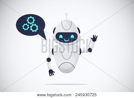 Smiling Chatbot Helping Solve A Problems. Robot Shaking Hand. Greeting Moves. Vector Illustration. I
