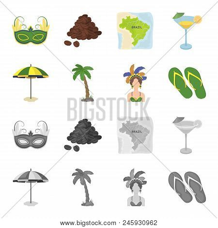 Brazil, Country, Umbrella, Beach . Brazil Country Set Collection Icons In Cartoon, Monochrome Style