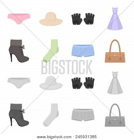 Women Boots, Socks, Shorts, Ladies Bag. Clothing Set Collection Icons In Cartoon, Monochrome Style V