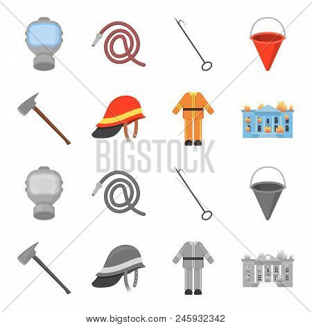 Ax, Helmet, Uniform, Burning Building. Fire Departmentset Set Collection Icons In Cartoon, Monochrom