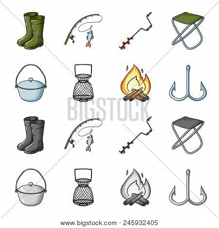 Catch, Hook, Mesh, Caster .fishing Set Collection Icons In Cartoon, Monochrome Style Vector Symbol S