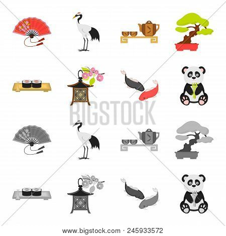 Sushi, Koi Fish, Japanese Lantern, Panda.japan Set Collection Icons In Cartoon, Monochrome Style Vec