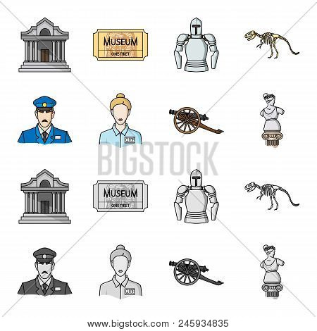Guard, Guide, Statue, Gun. Museum Set Collection Icons In Cartoon, Monochrome Style Vector Symbol St