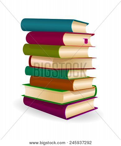 Books Stacked One On Top Of Another. A Stack Of Books On A White Background.