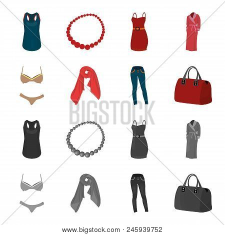 Bra With Shorts, A Women Scarf, Leggings, A Bag With Handles. Women Clothing Set Collection Icons In