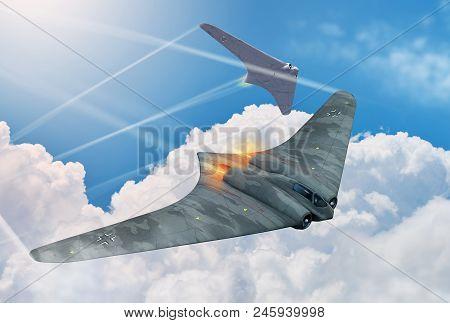 Two Flying Wings German Jet Fighter Aircraft, Horten Ho 229, From World War 2. 3d Render Illustratio
