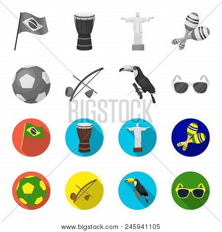 Brazil, Country, Ball, Football . Brazil Country Set Collection Icons In Monochrome, Flat Style Vect