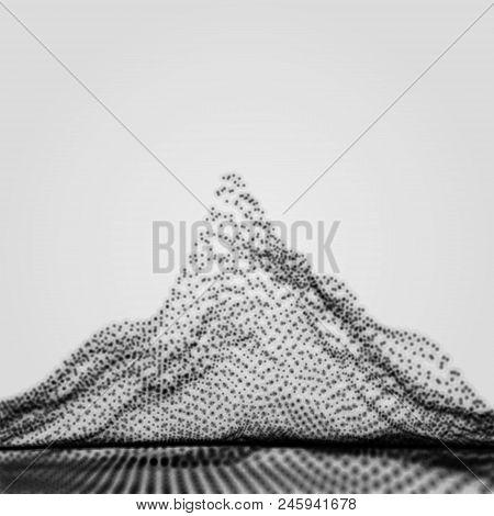 Mountain Landscape. Mountainous Terrain. 3d Abstract Background.