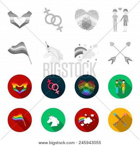 Flag, Unicorn Symbol, Arrows With Heart.gay Set Collection Icons In Monochrome, Flat Style Vector Sy