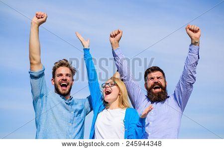 Employees Enjoy Feeling Of Freedom. Men With Beard In Formal Wear And Girl Finished Working Week. Co