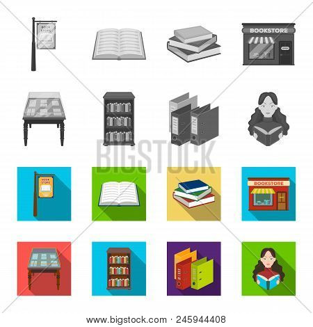 Library And Bookstore Monochrome, Flat Icons In Set Collection For Design. Books And Furnishings Vec