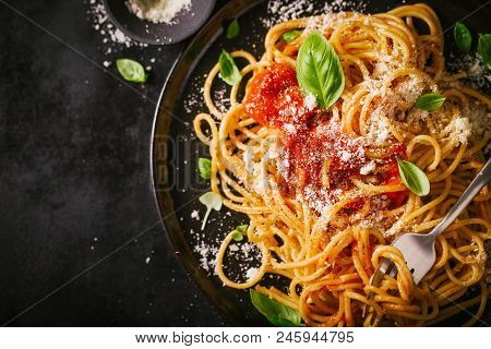 Tasty Appetizing Classic Italian Spaghetti Pasta With Tomato Sauce, Cheese Parmesan And Basil On Pla