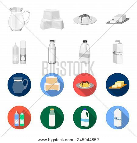 Milk, Calcium, Product, Food .milk Product And Sweet Set Collection Icons In Monochrome, Flat Style