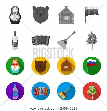 Russia, Country, Vodka, Accordion .russia Country Set Collection Icons In Monochrome, Flat Style Vec
