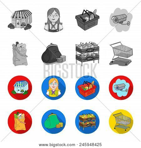 Sausages, Fruit, Cart .supermarket Set Collection Icons In Monochrome, Flat Style Vector Symbol Stoc