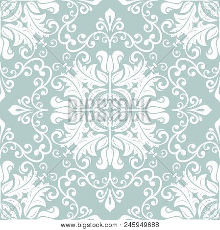 Classic Seamless Light Blue And White Pattern. Traditional Orient Ornament. Classic Vintage Backgrou