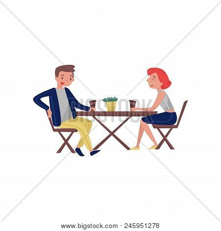 People Sitting Behind Wooden Table And Laughing. Cartoon Young Couple Talking During Coffee Break. C