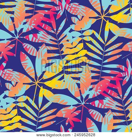 Cool Vivid Bright Color Tropical Leaves Seamless Pattern In 90s Chaotic Style. For Background, Wrapp
