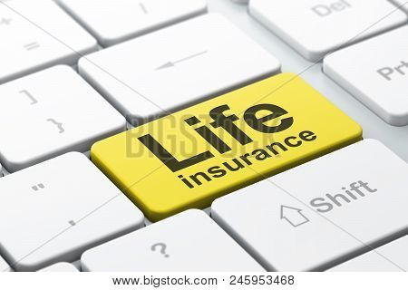 Insurance Concept: Computer Keyboard With Word Life Insurance, Selected Focus On Enter Button Backgr