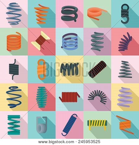 Coil Spring Cable Icons Set. Flat Illustration Of 25 Coil Spring Cable Vector Icons For Web
