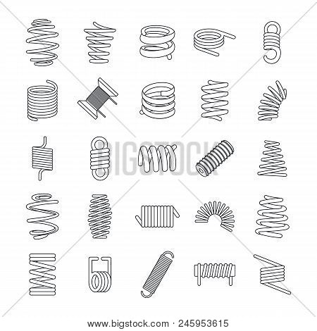 Coil Spring Cable Icons Set. Outline Illustration Of 25 Coil Spring Cable Vector Icons For Web