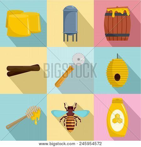 Honey Production Icons Set. Flat Set Of 9 Honey Production Vector Icons For Web Isolated On White Ba
