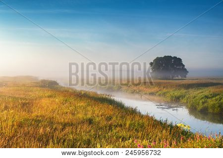 Foggy River In The Morning. Summer Misty Sunrise On The River