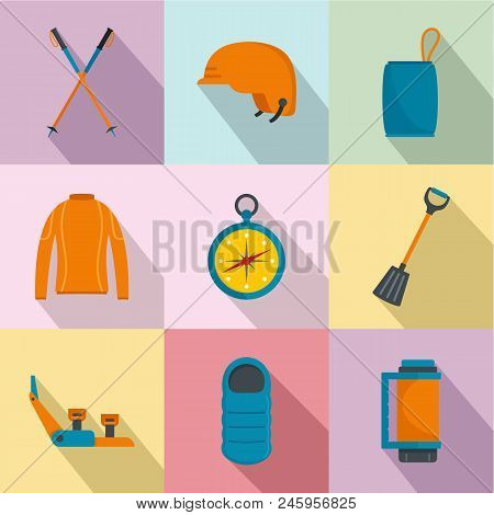 Hike Way Icons Set. Flat Set Of 9 Hike Way Vector Icons For Web Isolated On White Background