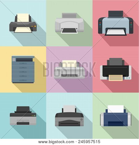Office Technician Icons Set. Flat Set Of 9 Office Technician Vector Icons For Web Isolated On White
