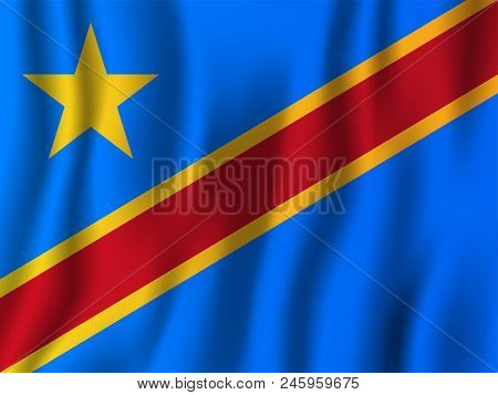 Democratic Republic Of The Congo Realistic Waving Flag Vector Illustration. National Country Backgro