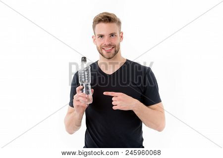 Macho Point Finger At Water Bottle Isolated On White. Happy Man Smile With Plastic Bottle. Thirst An