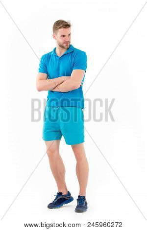 Sportsman Isolated On White. Man In Active Wear And Sneakers Full Length. Personal Trainer For Healt