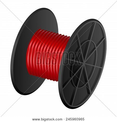 Red Cable Coil Mockup. Realistic Illustration Of Red Cable Coil Vector Mockup For Web Design Isolate
