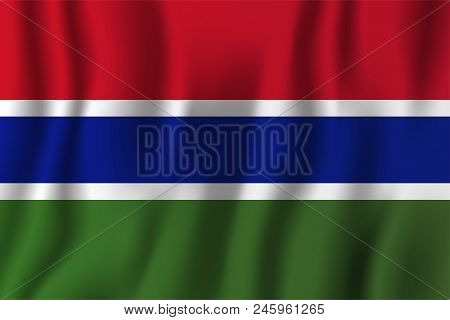 Gambia Realistic Waving Flag Vector Illustration. National Country Background Symbol. Independence D