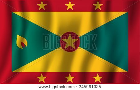 Grenada Realistic Waving Flag Vector Illustration. National Country Background Symbol. Independence