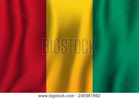 Guinea Realistic Waving Flag Vector Illustration. National Country Background Symbol. Independence D