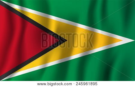 Guyana Realistic Waving Flag Vector Illustration. National Country Background Symbol. Independence D