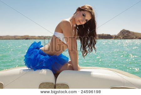 The Glamour Beautiful Girl On The Yacht