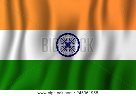 India Realistic Waving Flag Vector Illustration. National Country Background Symbol. Independence Da