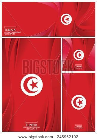 Tunisia Flag Abstract Colors Background. Collection Banner Design. Brochure Vector Illustration.